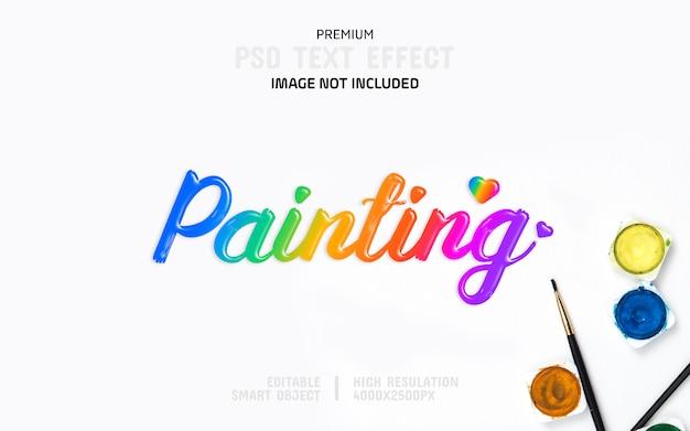 Bewerkbare schilderij kleur tekst effect sjabloon Premium Psd