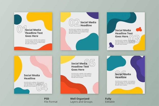 Bewerkbare sjabloon kleurrijke eenvoudige platte vloeistof sociale instagram post banner Premium Psd