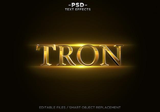 Bewerkbare tekst met 3d-gouden trone-effecten Premium Psd