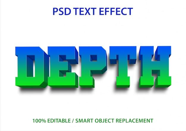 Bewerkbare teksteffectdiepte Premium Psd