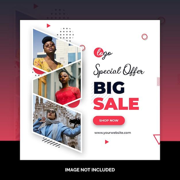 Bied verkoop web sociale media bannermalplaatje aan Premium Psd