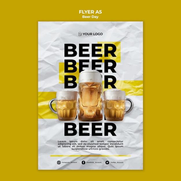 Bier dag flyer-sjabloon Gratis Psd