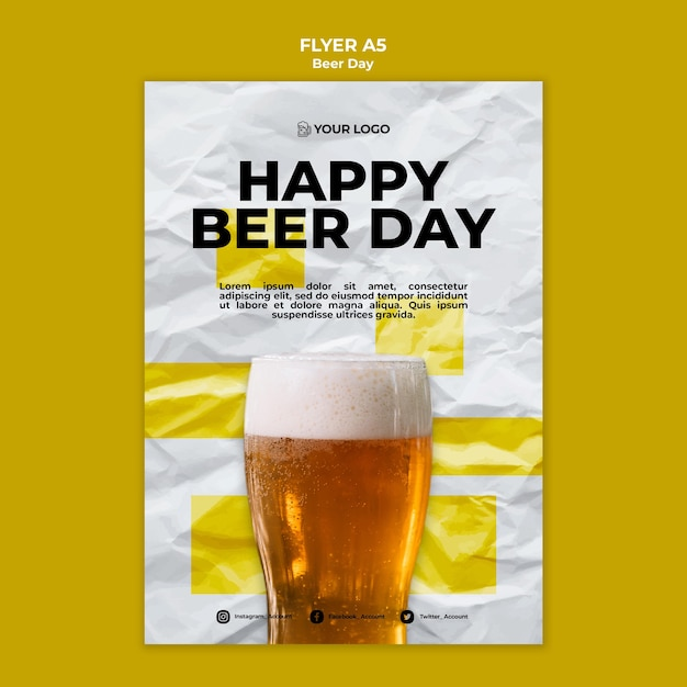 Bier dag flyer sjabloonontwerp Gratis Psd