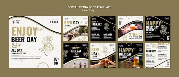 Bierdag instagram post collectie Gratis Psd