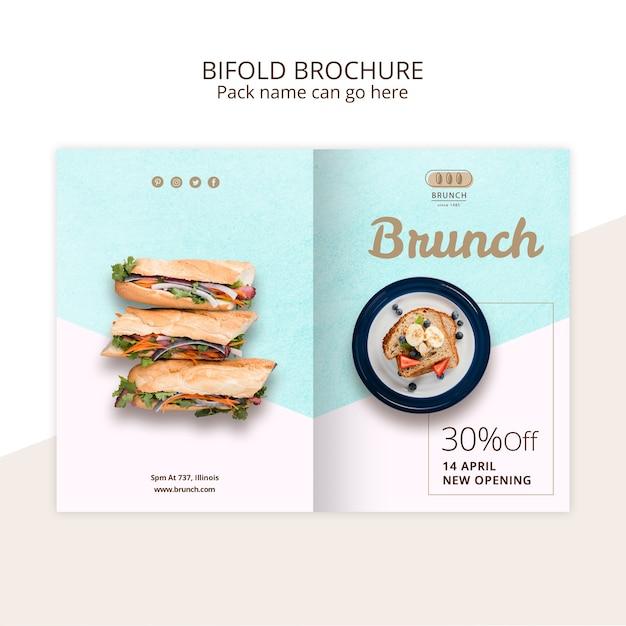 Bifold brochure sjabloon voor brunch restaurant Gratis Psd