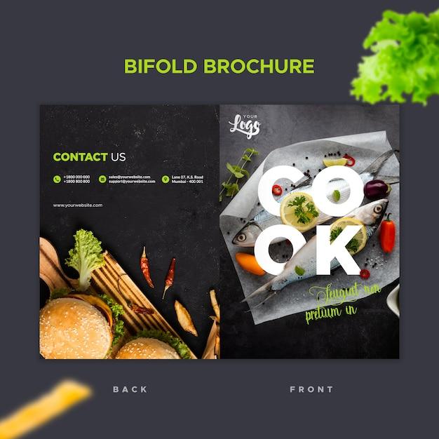 Bifold brochure sjabloon voor restaurant Gratis Psd