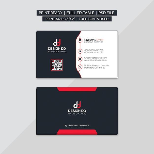 Biglietto da visita aziendale rosso Psd Premium
