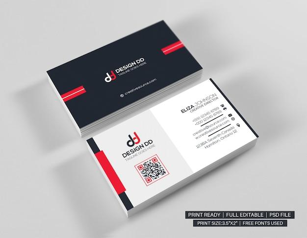 Biglietto da visita minimalista rosso Psd Premium