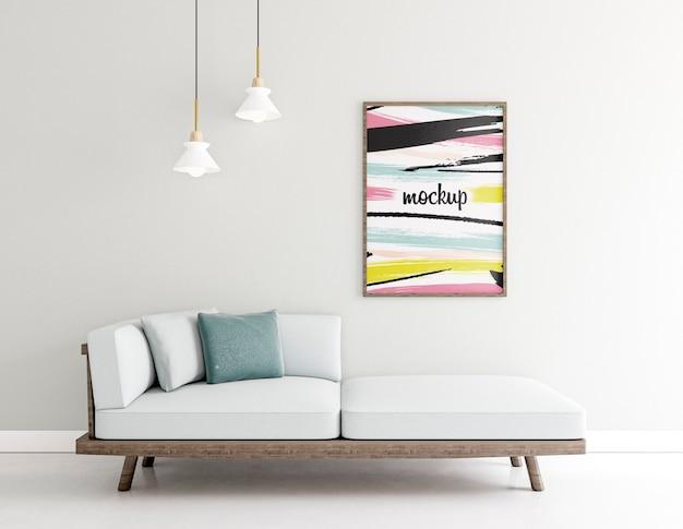 Binnenshuis opstelling met frame mock-up Gratis Psd