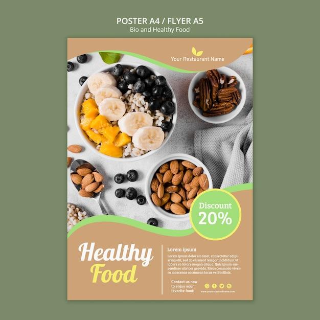 Bio en gezond voedsel poster Gratis Psd