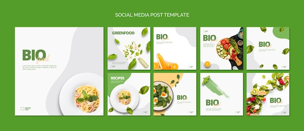 Bio food tsocial media berichtensjabloon Gratis Psd