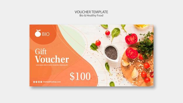 Bio & gezonde voeding concept voucher sjabloon Gratis Psd