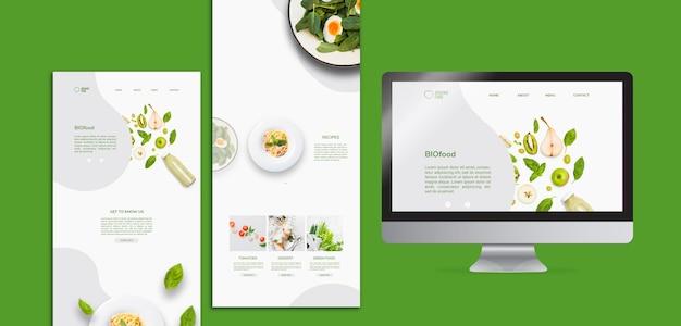 Bio voedsel briefpapier sjabloon met foto Gratis Psd
