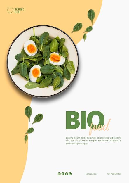 Bio voedsel flyer sjabloon met foto Premium Psd