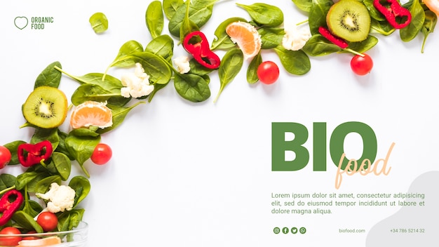Bio voedsel sjabloon voor spandoek met foto Gratis Psd