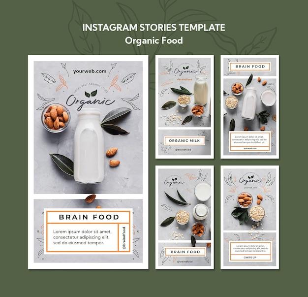 Biologisch voedsel instagram verhalen sjabloon Premium Psd