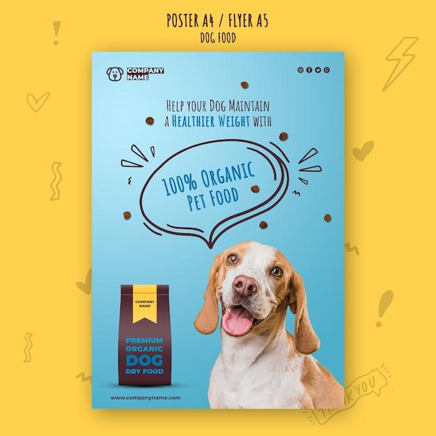 Biologisch voedsel voor huisdieren poster sjabloon Gratis Psd