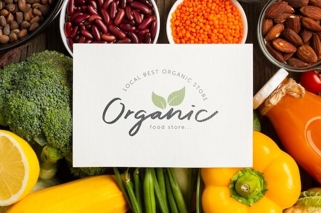 Biologische groenten en ingrediënten bovenaanzicht Gratis Psd