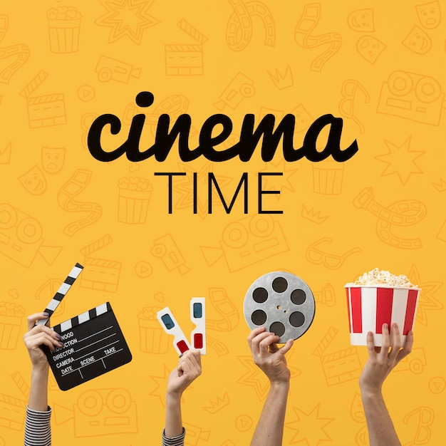 Bioscooptijd met 3d glazen en popcorn Gratis Psd