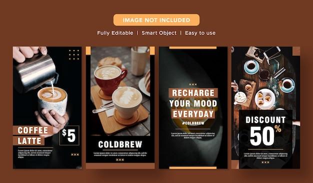 Black coffee latte banner de descuento especial diseño de promoción de redes sociales plantilla de publicación de instagram PSD Premium