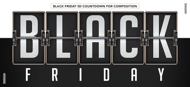 Black friday 3d countdown para maqueta de composición PSD Premium