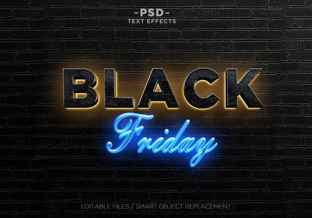 Black friday-effecten tekstsjabloon Premium Psd
