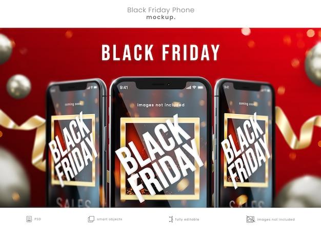 Black friday samrt-telefoonmodel op rode achtergrond voor black friday-verkoop Premium Psd