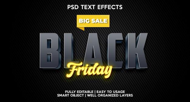 Black friday-teksteffectsjabloon Premium Psd