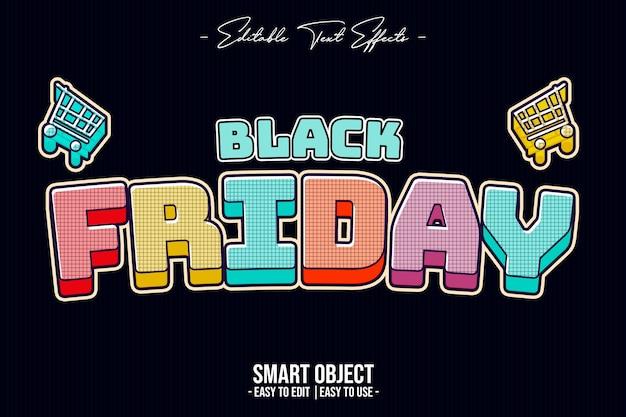 Black friday-tekststijleffect in kleur Premium Psd