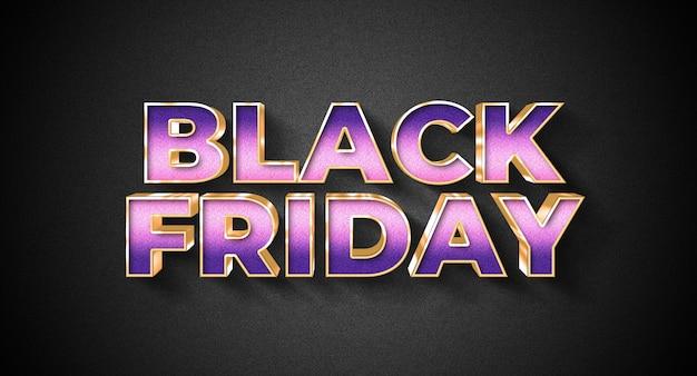 Black friday-tekststijleffectsjabloon Premium Psd