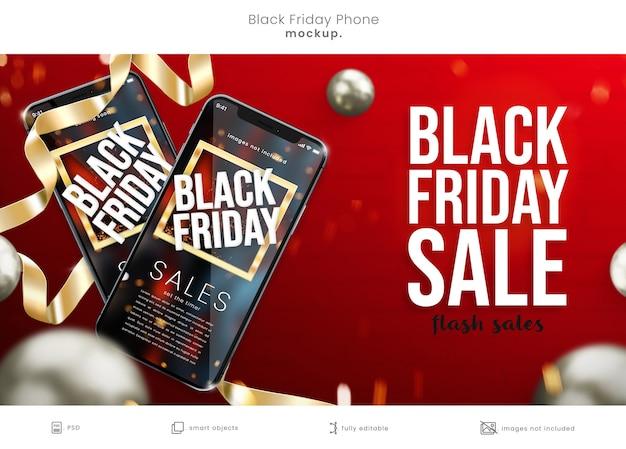 Black friday-telefoonschermmodel op rode achtergrond met linten Premium Psd