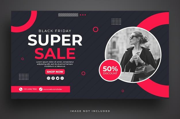 Black friday verkoop websjabloon voor spandoek Premium Psd
