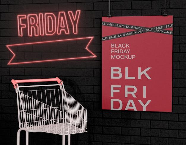 Black friday-verkoopbanner advertentiemodel. advertentiekorting op winkeldag. Premium Psd
