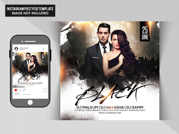 Black party flyer Premium Psd