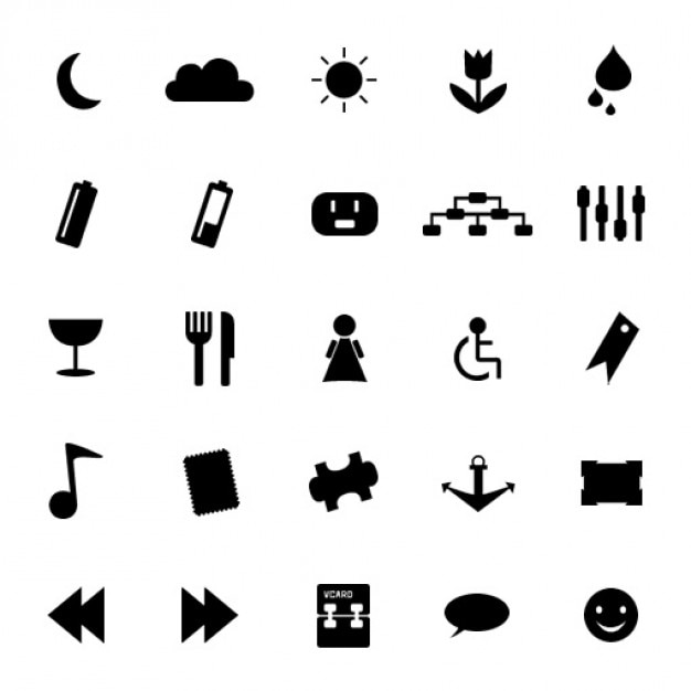 Blanco y negro símbolos conjunto de Con   Descargar PSD gratis