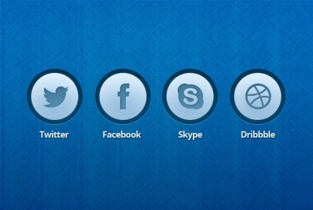 Blauw pictogram knoppen bewerkbare psd Gratis Psd