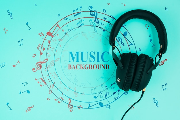 Blauwe achtergrond met muzieknoten Gratis Psd
