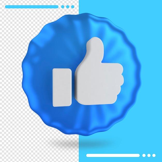 Blauwe ballon met logo van facebook zoals in 3d-rendering Premium Psd