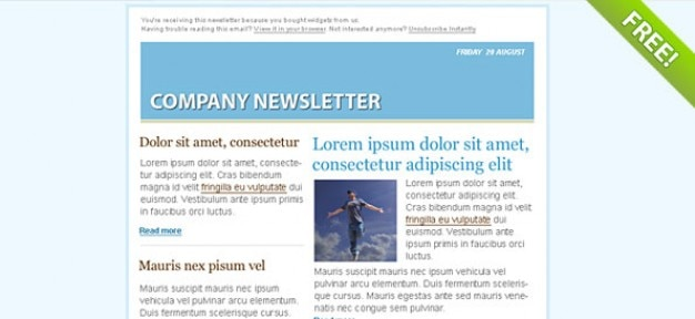 Blauwe e-mail marketing nieuwsbrief template Gratis Psd