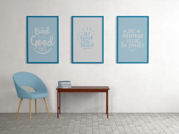 Blauwe ingelijste posters met minimalistische decoraties Gratis Psd