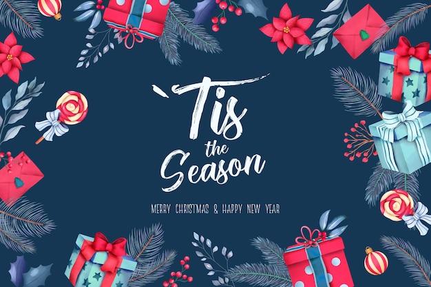 Blauwe kerst achtergrond met cadeautjes en ornamenten Gratis Psd