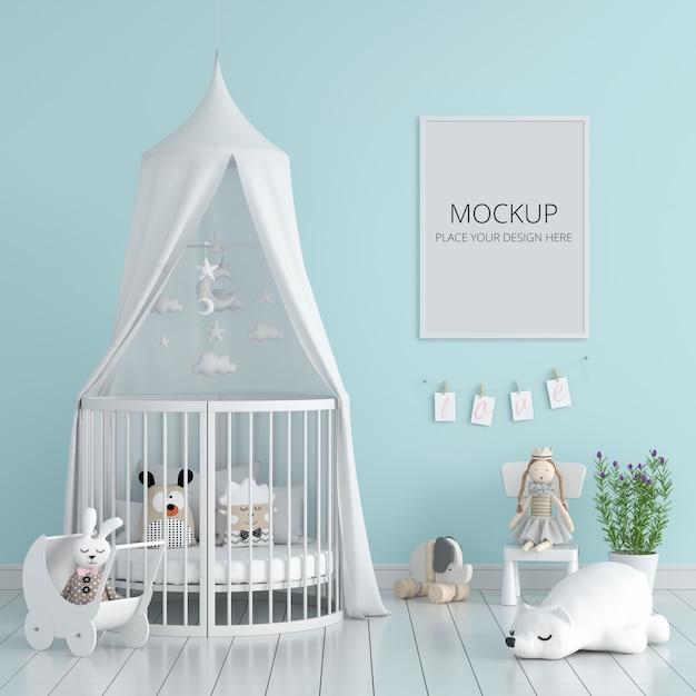 Blauwe kinderslaapkamer met frame mockup Gratis Psd