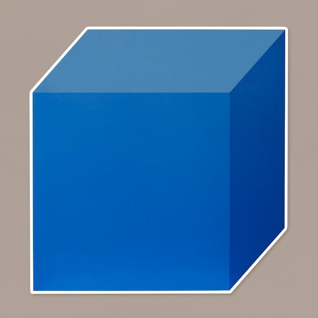 Blauwe kubieke doos sjabloonpictogram Premium Psd