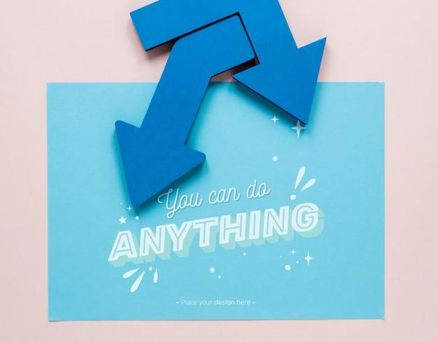Blauwe pijlen waarmee je alles kunt doen, belettering Gratis Psd