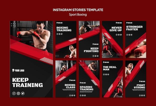 Blijf trainen boksen instagramverhalen Gratis Psd