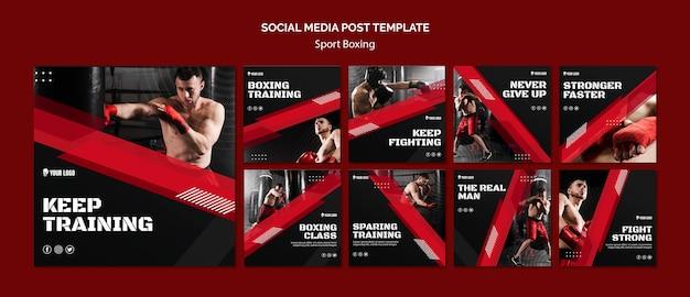 Blijf trainen boksen social media post Gratis Psd