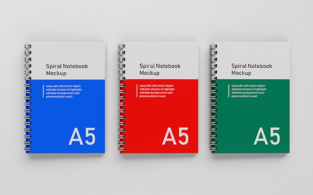 Blocco note a spirale con copertina rigida a5 pronto per l'uso Psd Premium