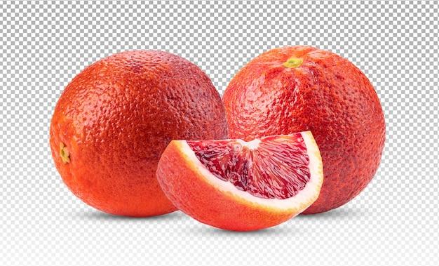 Bloedsinaasappelen met een kleine geïsoleerde plak Premium Psd