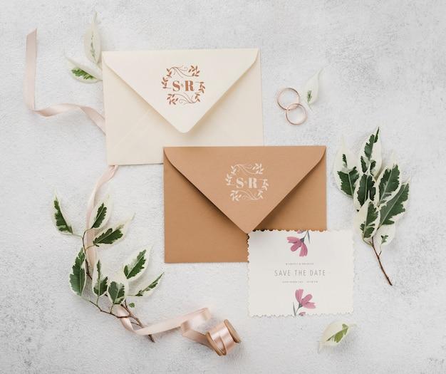 Bloemen bruiloft concept mock-up Gratis Psd