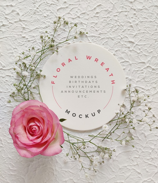 Bloemen krans mockup Premium Psd